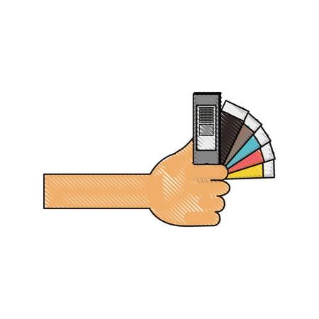 hand holding  a color guide palette picker icon over white background colorful design  vector illustration
