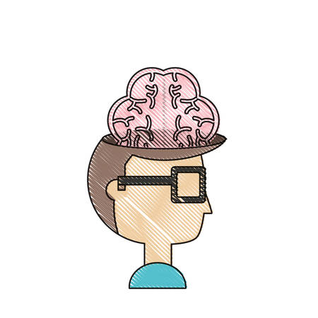 cartoon man with brain icon over white background vector illustration