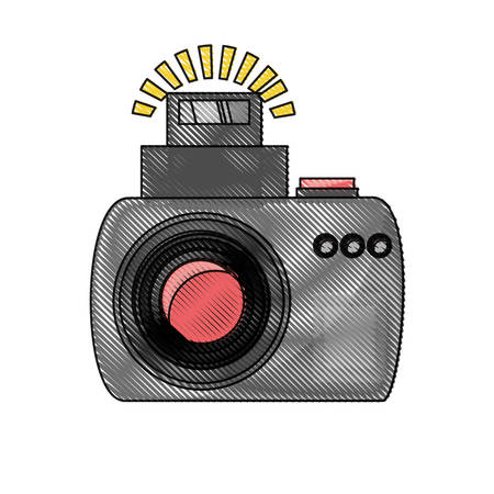 photographic camera with flash on icon over white background colorful design vector illustration