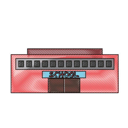 school building icon over white background colorful design vector illustration Illusztráció