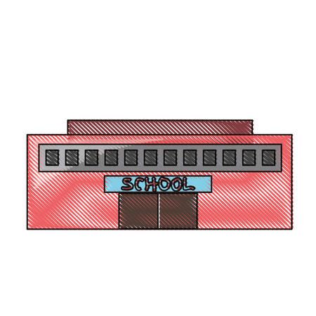 school building icon over white background colorful design vector illustration Stock Illustratie