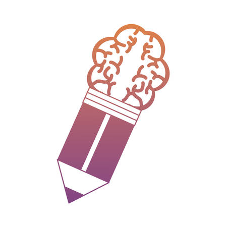 Pencil With A Brain Shaped Eraser over white background vector illustration Illustration