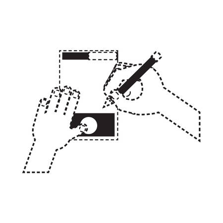 Hand drawing on a graphic tablet over white background vector illustration