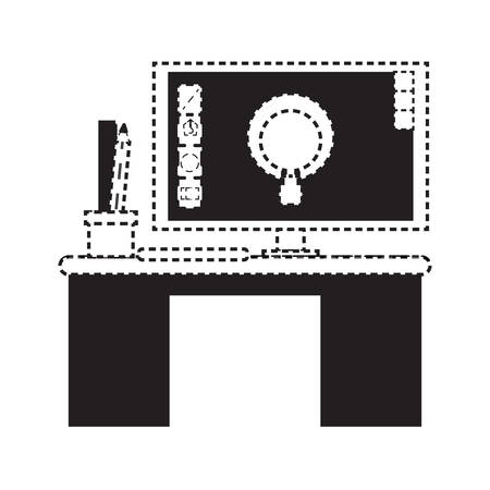 desk with computer and pencils cup icon over white background vector illustration Stock Illustratie