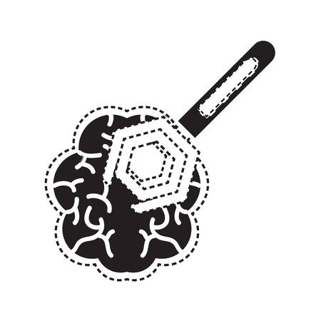 human brain with spanner tool icon over white background vector illustration