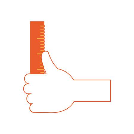 hand holding a ruler icon over white background colorful design  vector illustration Illustration