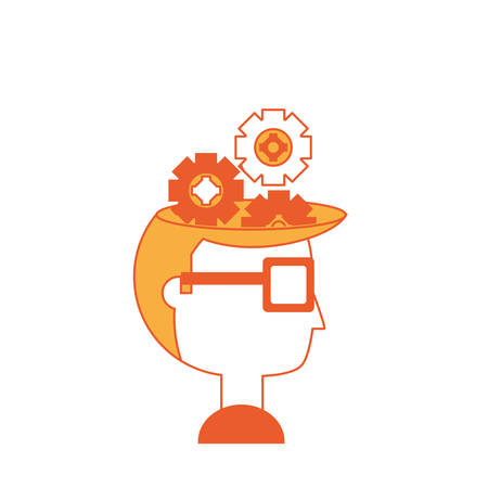 Cartoon man head with gear wheels icon over white background colorful design vector illustration.