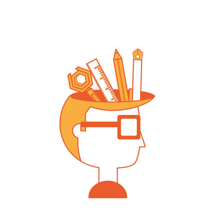 Cartoon man head with writing tools icon over white background colorful design vector illustration.
