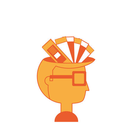 Cartoon man with color palette guide picker over white background colorful design vector illustration. Illustration