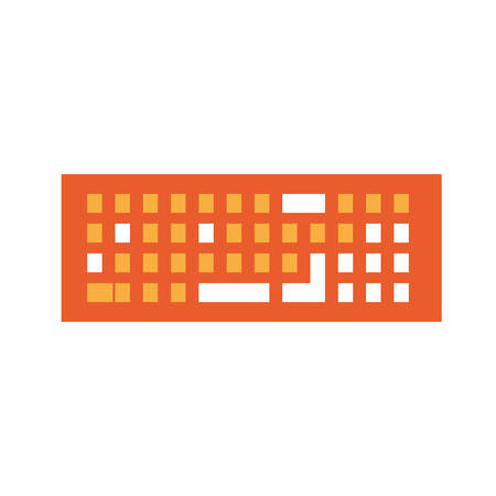 Keyboard device icon over white background vector illustration.