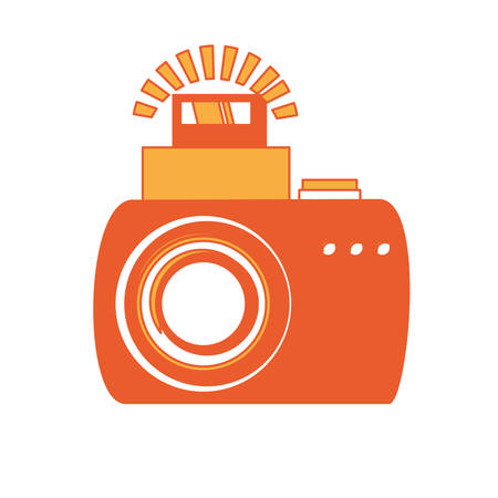 Photographic camera with flash on icon over white background colorful design vector illustration. Illustration