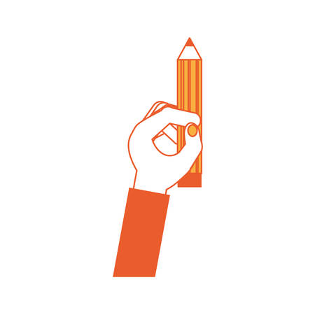 Hand holding a pencil icon over white background colorful design vector illustration.