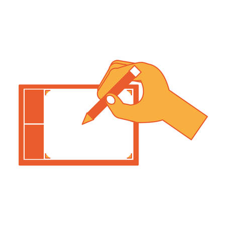 Hand drawing on a graphic tablet over white background colorful design vector illustration.