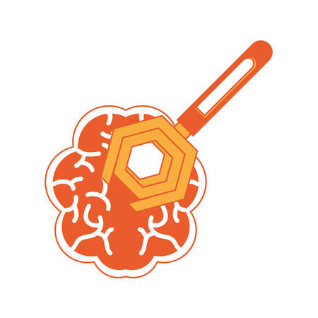 human brain with spanner tool icon over white background colorful design vector illustration