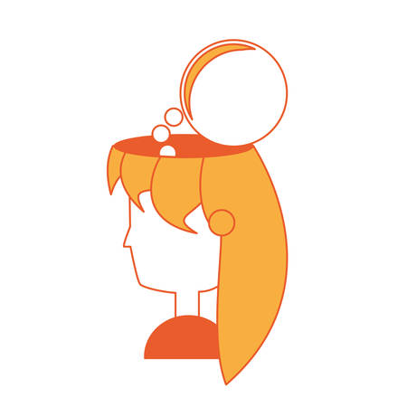 speech bubble on woman head icon over white background colorful design vector illustration