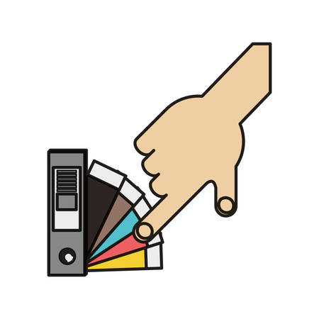 hand picking a color of the guide palette icon over white background colorful design vector illustration Illustration