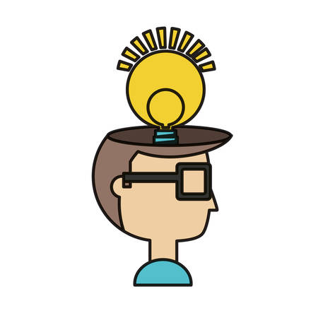 Cartoon man with light bulb icon over white background colorful design vector illustration