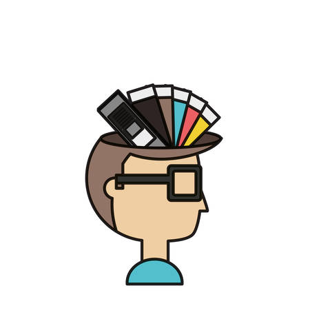 Cartoon man with color palette guide picker over white background colorful design vector illustration
