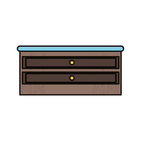 Chest of drawers icon over white background in colored design vector illustration