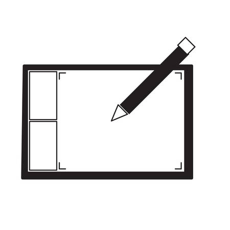 Pencil above a graphic tablet icon isolated on white