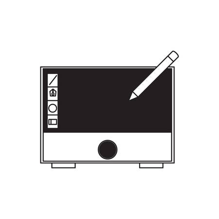 Pen above a graphic tablet icon