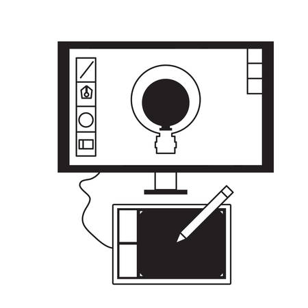 Computer monitor with light bulb in the screen. graphic design concept