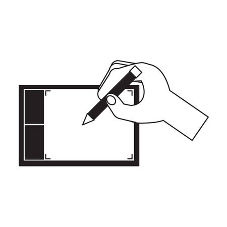 Hand holding a pencil pointing to an abstract  graphic tablet icon