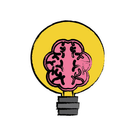 Human brain in lightbulb icon over white background colorful design vector illustration