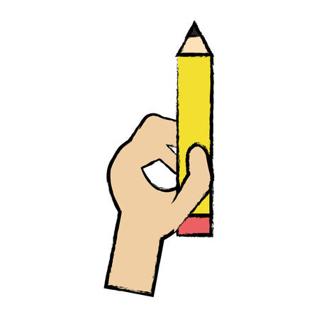 A hand holding a pencil icon over white background colorful design vector illustration