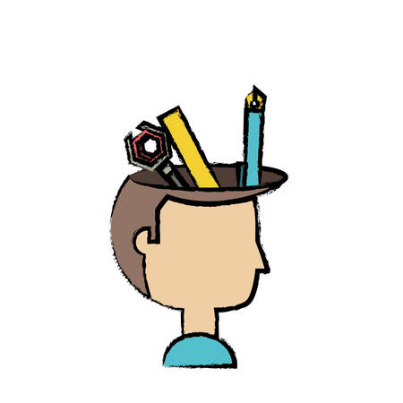 A cartoon man head with writing tools icon over white background colorful design vector illustration