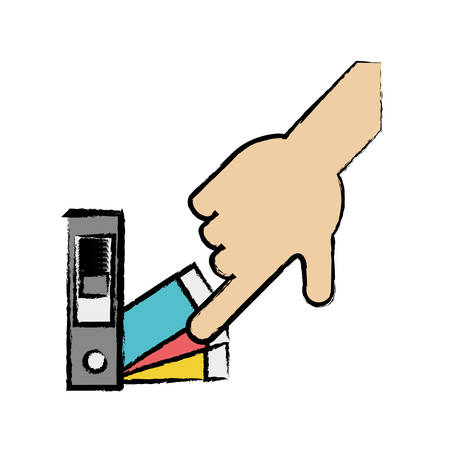 A hand picking a color of the guide palette icon over white background colorful design vector illustration