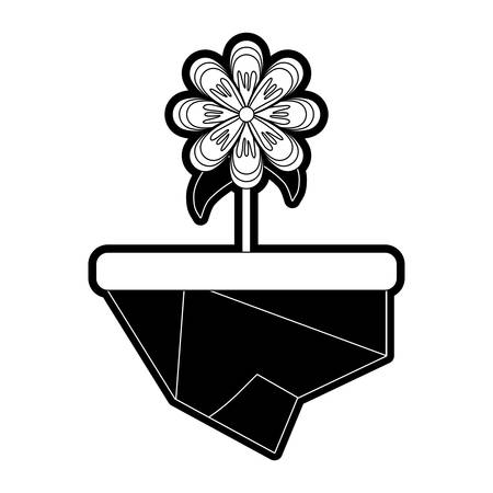 flat line monochromatic  flowerpot over white background vector illustration