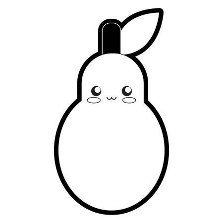 Flat line monochromatic pear over white background, vector illustration. Иллюстрация