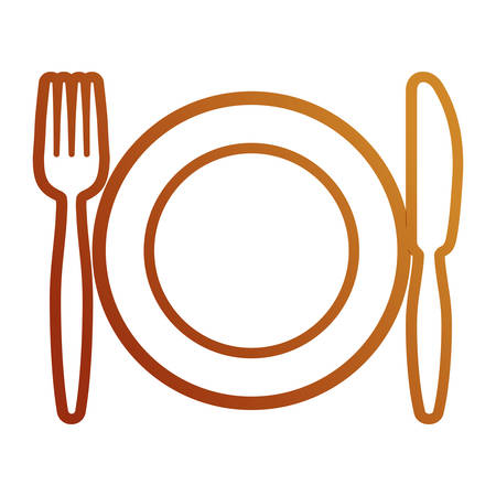 Flat line colored plate with fork an knife over white background, vector illustration.