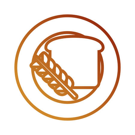 Flat line colored plate with bread over white background, vector illustration.