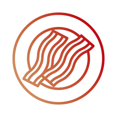 Flat line colored plate with bacon over white background, vector illustration.