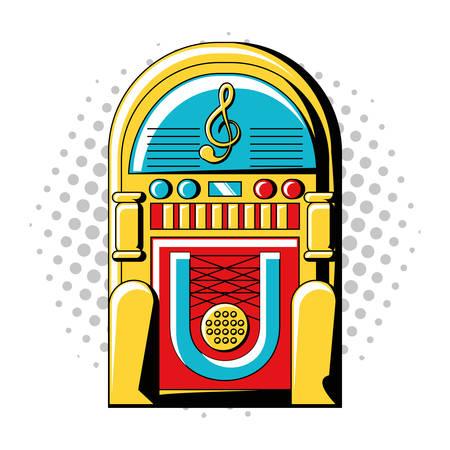 pop art design with rockola icon over white background colorful design vector illustration Ilustração