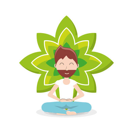 lotus flower and cartoon man practicing  yoga in a lotus pose icon over background colorful design vector illustration