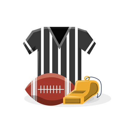 american football design with ball, referee shirt and  over background colorful design vector illustration