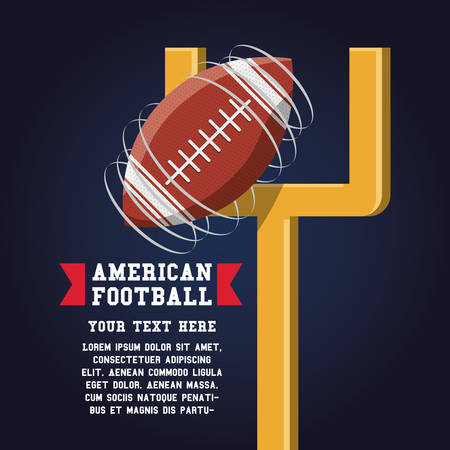 american football design with goal post and ball icon over black background colorful design vector illustration Ilustração