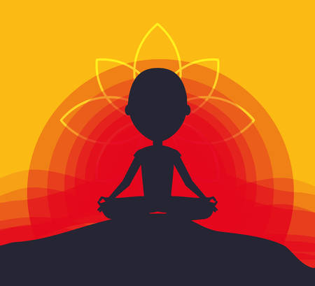 silhouette of man practicing  yoga in a lotus pose icon over colorful background vector illustration