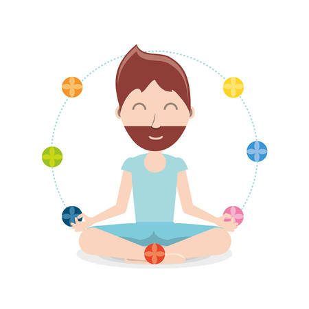 chakras around a cartoon man practicing  yoga in a lotus pose icon over background colorful design vector illustration Vettoriali