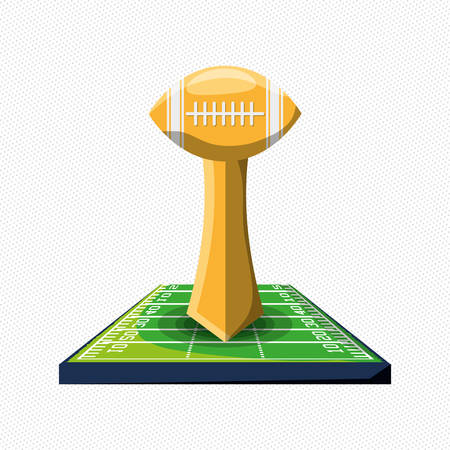 american football trophy icon over white background colorful design vector illustration