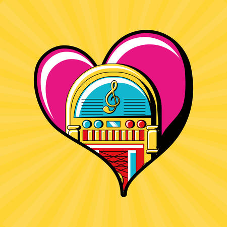 Heart with rockola icon over yellow background colorful design vector illustration