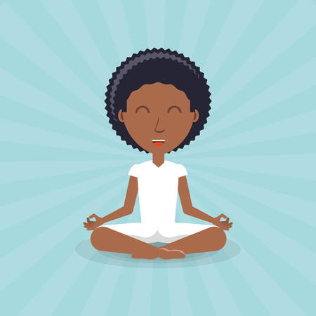 Cartoon man practicing yoga pose icon. Illustration