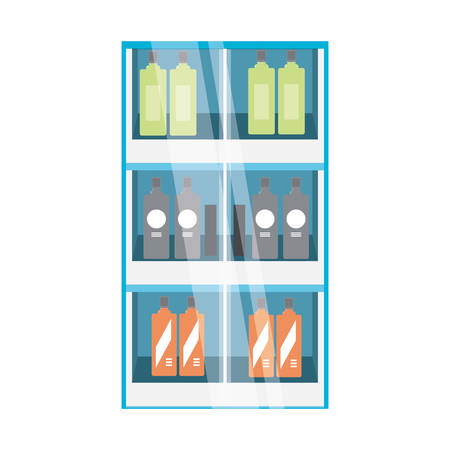 supermarket shelves with bottles products over white background colorful design vector illustration