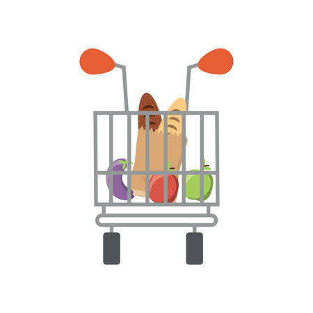 shopping cart with supermarket products icon over white background colorful design  vector illustration