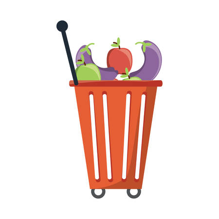 shopping rolling basket with vegetables and fruits icon over white background vector illustration