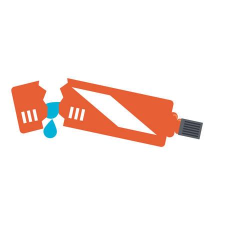 Broken tube of toothpaste icon. Illustration