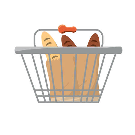shopping basket with breads icon over white background colorful design vector illustration Illustration